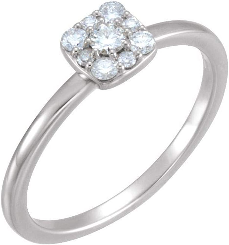 1/4 Cttw Diamond Stackable Wedding Anniversary Square Cluster Ring Band (.25 Cttw) (Width = 6.5mm)