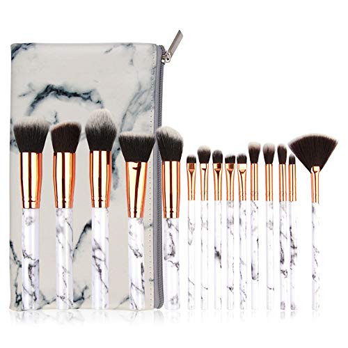 Make Up Pinsel Set, Komake Kosmetikpinsel Foundation Pinsel Set Gesichtspinsel Make Up Schminkpinsel Lidschattenpinsel Augenpinsel Lippenpinsel mit Marmor Kosmetiktasche (15 Stücke)