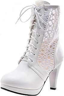 KemeKiss Women Fashion Lace Up Short Boots Platform Round Toe