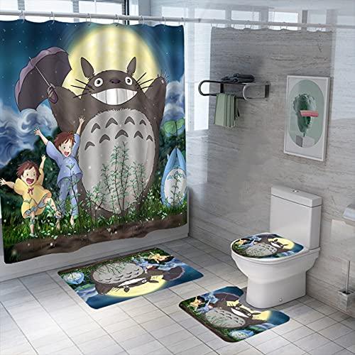 3D Anime Print Totoro Duschvorhang Set Wasserdicht Waschbar Polyester Badevorhang Anti-Rutsch Teppiche Toilettendeckel Abdeckung Badematten Set