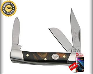 FOLDING POCKET Sharp KNIFE Rite Edge 2.75'' Black Pearl Large Classic Stockman 3 Blade Combat Tactical Knife + eBOOK by Moon Knives