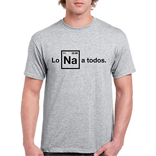 Lo Na a Todos - Camiseta Manga Corta (Gris Jaspeado, L)