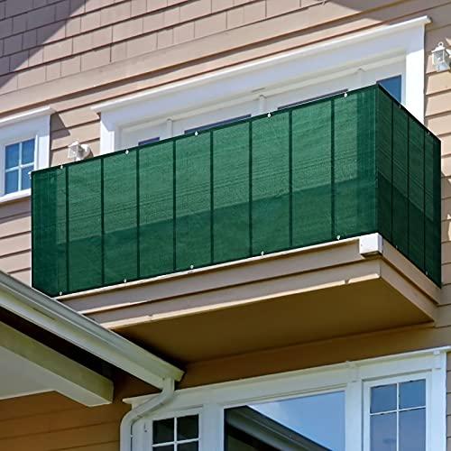 GGMWDSN Pantalla Privacidad Balcon, Intimidad para Terrazas, Valla para Balcon Jardin Toldo Lateral, Protección UV, Resistente Al Viento y Al Agua Transpirable, con Cuerdas,1x9m