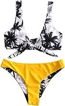 JESPER Women Rainforest Printing Bandage Crochet Bikini Push-Up Brazilian Swimwear Swimsuit