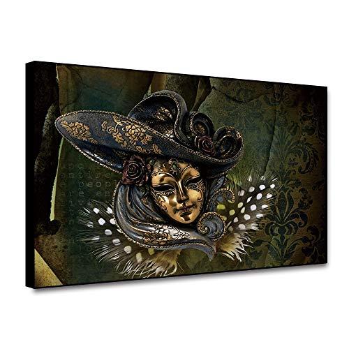 RTCKF Máscara Decoración Retro Vintage Carteles e Impresiones Lienzo Pintura y decoración Accesorios Flor decoración del hogar Accesorios para el Dormitorio impresión en Lienzo A3 50x70cm
