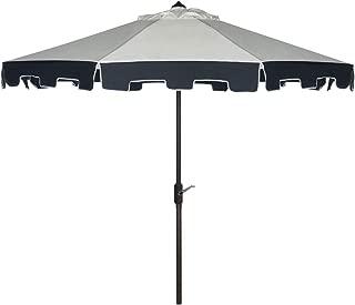 Safavieh PAT8005A Outdoor Collection City Fashion Auto Tilt Umbrella, 9', Beige/Navy