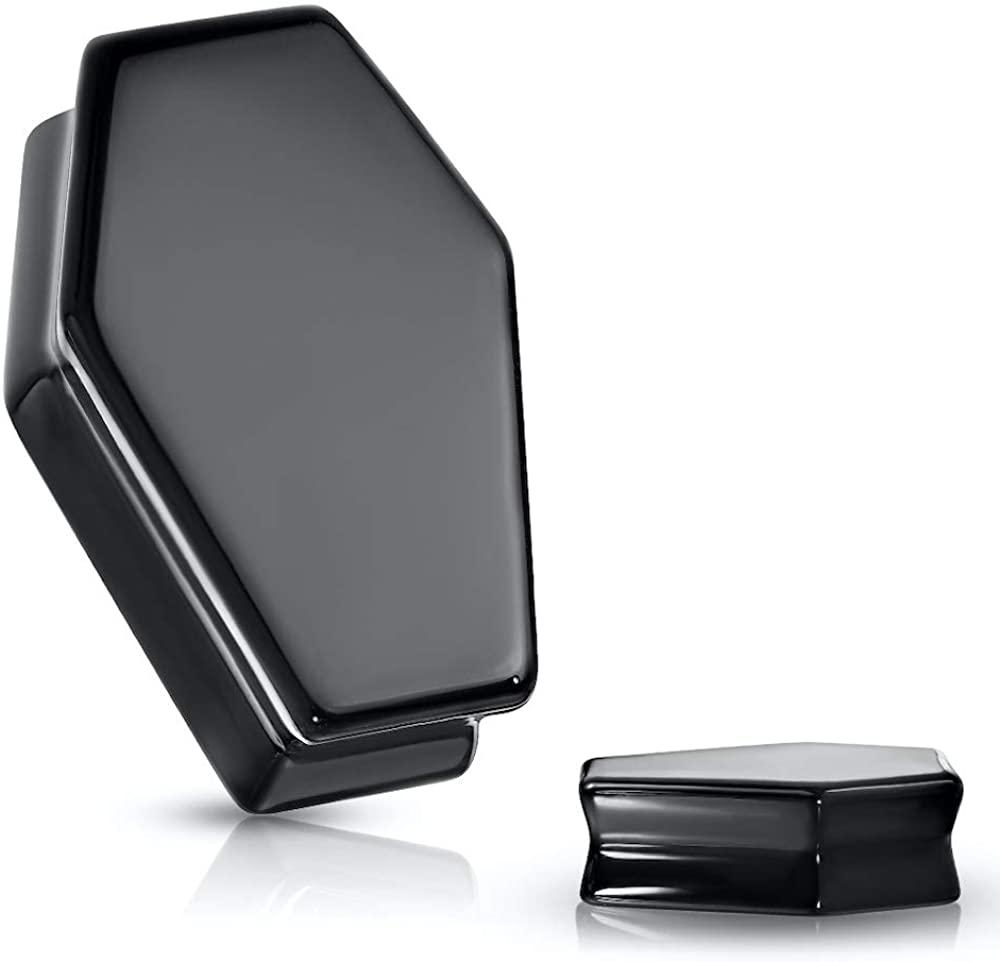 Covet Jewelry Coffin Double Flare Plugs Obsidian Max 68% OFF S Natural Black Super beauty product restock quality top!