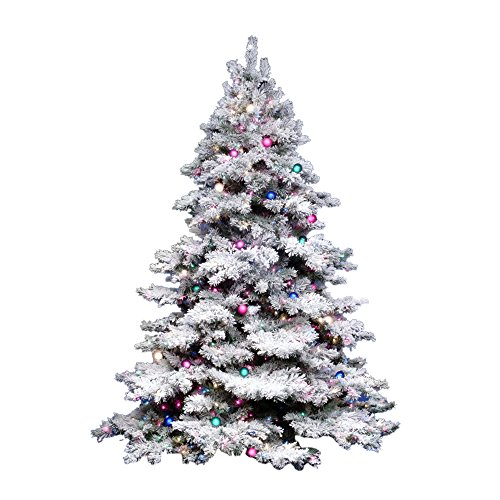 "Vickerman 36"" Flocked Alaskan Pine Artificial Christmas Tree with 100 Multi-colored lights"