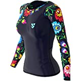 SMMASH Folk Womens Long Sleeve Compression Tops, Breathable and Light, Functional Thermal Shirt for Crossfit, Fitness, Yoga, Gym, Running, Sport Long Sleeved, Antibacterial Material… (L)