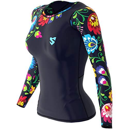 SMMASH Folk Damen Langarm Top, Atmungsaktiv und Leicht Compression Shirt, Longsleeve Damen, Gym Top, Funktionsshirt für Crossfit, Fitness, Yoga, Sport Langarmshirt, Hergestellt in der EU (M)