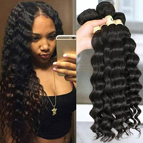 QTHAIR 12A Peruvian Loose Deep Curly Wave 3 Bundles (10' 12' 14',300g,Natural Black) 100% Unprocessed Peruvian Remy Virgin Hair Loose Deep Wave Human Hair Bundle