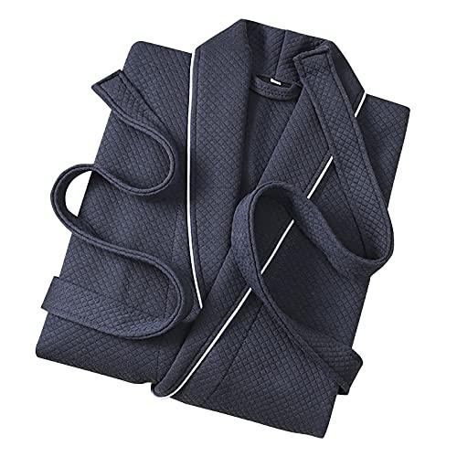 KJIUQ Pyjamas Herren Winter Solide Casual Extra Lange Bademantel Tasche Gimp Nachthemd Bademantel Nachtwäsche