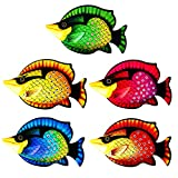 MYJAQI 5 Pcs Coastal Decor Metal Fish Wall Art Garden Pool Decor, Vivid Colorful Fish Art Wall Hanging for Pool Home Porch Fence Garden (12 Inch x 7 Inch)