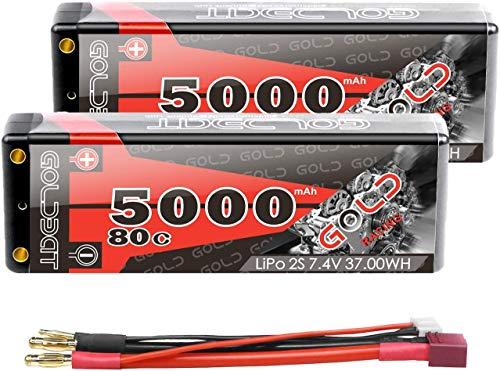 GOLDBAT Lipo RC Batería 5000 mAh 7,4 V 80C 2S RC Batería con Enchufe Deans-T para RC Coche Barco Camión Truggy RC Hobby Hard Shell (2 Pack)