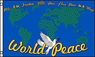 Trade Winds 3x5 World Peace Sign Earth Globe Dove Blue Flag 3`x5` House Banner Grommets Premium Fade Resistant