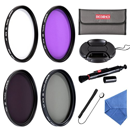 Beschoi Filter Set 67mm UV Filter/Cirkular Polfilter/ND Filter (NDx4) / FLD Filter für DSLR Kamera