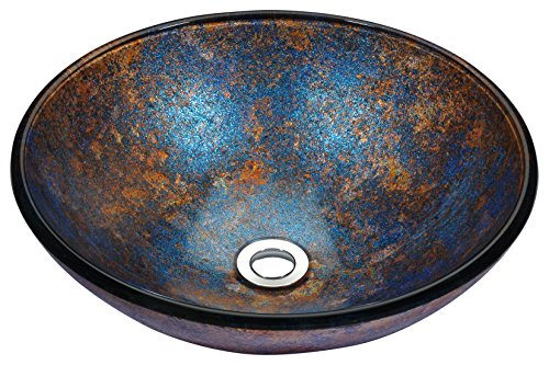 ANZZI Stellar Series Modern Tempered Glass Vessel Bowl Sink in Sapphire Burst | Blue Navy Brown Top Mount Bathroom Sinks Above Counter | Round Vanity Countertop Sink Bowl with Pop Up Drain | LS-AZ173