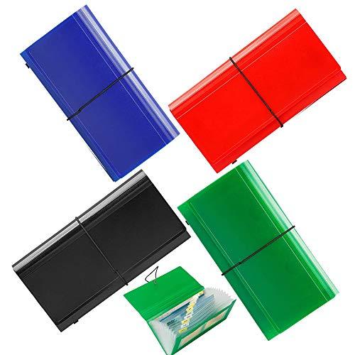 13 Pockets Expanding Check Bill File Folder,XUCHUN 10.4' 5.5' Expanding File Folder 4 Pack for Receipts, Coupons, Checks, Cards-Waterproof