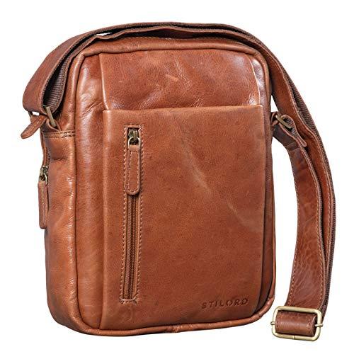 STILORD 'Irving' Vintage Leder Tasche Braun klein Umhängetasche für 10,1 Zoll und iPad Tablettasche DIN A5 Handtasche Messenger Bag Echtleder, Farbe:Cognac - glänzend