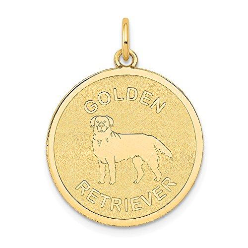 Diamond2deal 14K giallo oro Golden Retriever disco ciondolo per collana