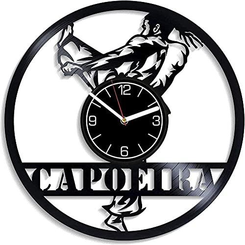 WYDSFWL Reloj de Pared Fantasy Capoeira Reloj de Pared para Hombre Disco de Vinilo Regalo Reloj de Pared Regalo Moderno Capoeira Colgante de Pared Movimiento de Arte decoración del hogar 30 cm