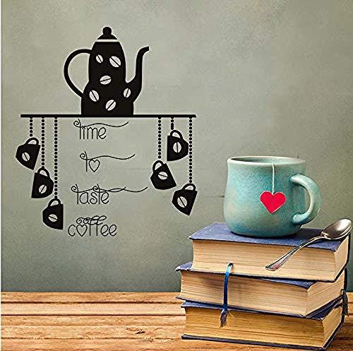 Eenvoudige Muurstickers Tijd Proeven Koffie Keuken Muurstickers Theepot Koffiebeker Muur Aquarel Afneembare Applique Decoratieve Art Vinyl 44X51 cm