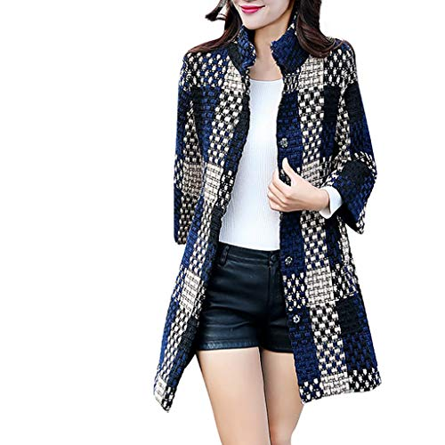 FRAUIT Wollmantel Damen Gitter Wolle Parka Wintermantel Frauen Stricken Trenchcoat Kleidung Lange Mantel Schlanke Mode Elegant Freizeit Streetwear Kleidung Bluse Tops Outwear (M, N-Blau)