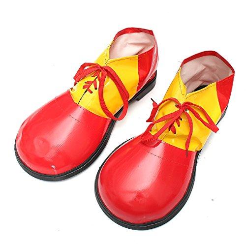 Changlesu Adulto 1 par de zapatos de payaso de Halloween Botas de decoracin de vestidos accesorios unisex comedia fantasa disfraz fiesta eventos suministros (rojo)