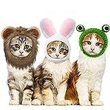3 Sombreros de Mascotas Sombrero Ajustable de Mascotas con Peluca de Melena de León Gorro de Conejito de Gato con Orejas de Conejo Sombrero de León Gatito Gorra de Disfraz de Rana de Perro