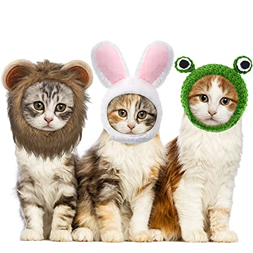 3 Sombreros de Mascotas Sombrero Ajustable de Mascotas con Peluca de Melena de León Gorro de Conejito de Gato con Orejas de Conejo Sombrero de León Gatito Gorra de Disfraz...