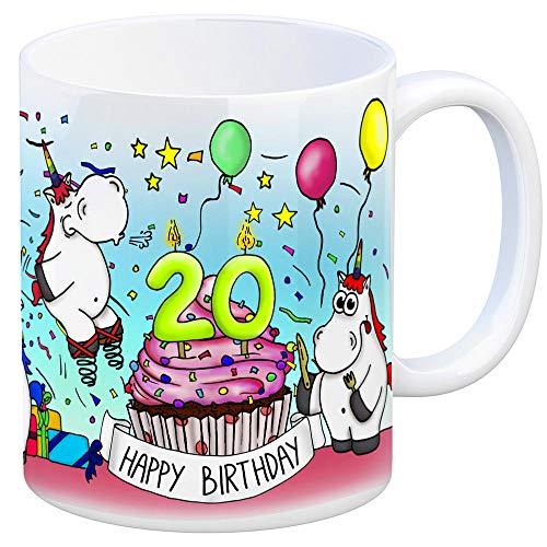 trendaffe - Honeycorns Tasse zum 20. Geburtstag mit Muffin und Einhorn Party