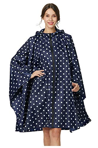 Womens Rain Poncho Polyester Waterproof Raincoat with Hood Zipper Outdoor Hiking Biking (deep Blue White Polka dots)