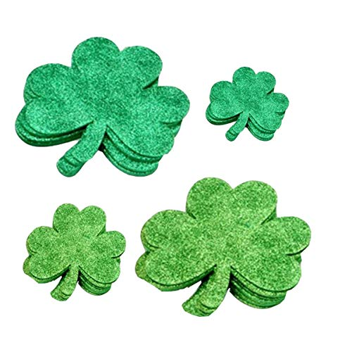 300Pcs Glitter Four Leaf Clover Stickers, St. Patrick's Day Accessories Decorative Shamrock Peel Off Foam Stickers(4 Colors)