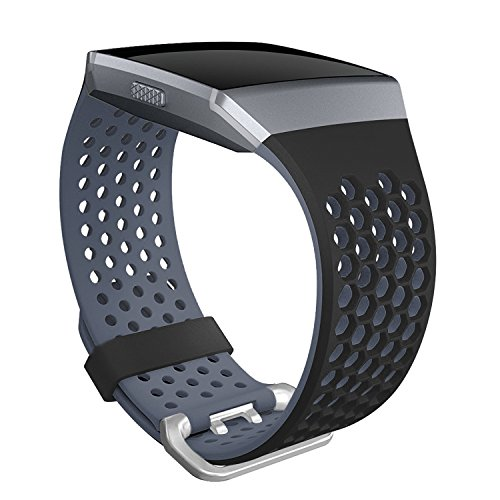 SKYLET Compatible with Fitbit Ionic Bands Men Women, Soft Sport Silicone Breathable Replacement Wristband Compatible with Fitbit Ionic Smart Watch with Buckle [Black-Gray, Large]