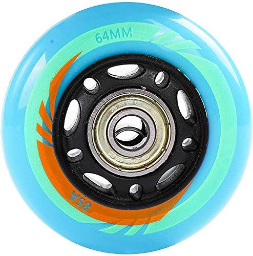 YSHUAI Ersatzrollen für Inlineskates – Blau 85A 64mm 68mm – Hockey-Skates PU 64mm