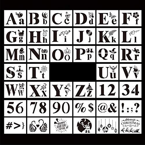 Juego de plantillas de 40 plantillas de letras para números de alfabeto para dibujo, pintura de bricolaje, planificador, accesorios de pintura de día festivo para álbumes de recortes