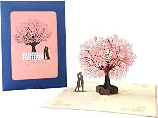 Handmade 3D Cherry Blossom Wedding Invitation, Matching Envelope, Suitable for Wedding Party 6.3 X 8.3 in