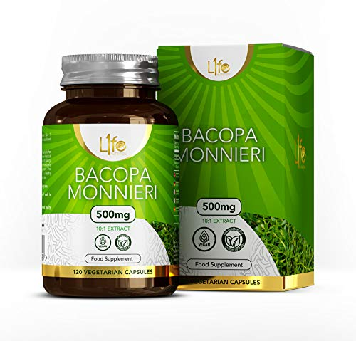 LN Bacopa Monnieri Capsules | 120 Vegan Bacopa Supplements, High Strength Brahmi - 500mg per Capsule | Non-GMO, Gluten, Dairy & Allergen Free | Manufactured in The UK