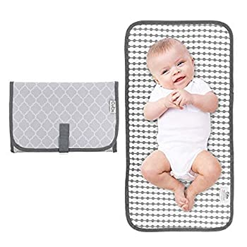 Baby Portable Changing Pad Diaper Bag,Travel Mat Station  Grey Compact