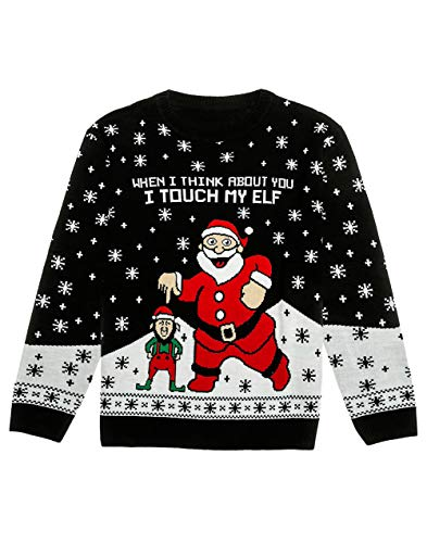 When i think about you i touch my elf - funny santa claus and his elf. Get into the holiday spirit with this elf ugly christmas sweater Hilarious elf unisex sweater - the elf's ugly christmas sweater for women or men is an awesome tacky christmas gif...