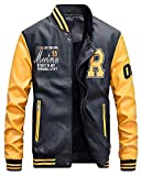 QitunC Hombres Cuero De La PU Chaqueta De Béisbol Impresión Fleece Forrado Cazadora Abrigo Amarillo M