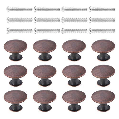 12PCS Schubladen Knöpfe Möbelknöpfe Schubladengriffe Vintage Antike Runde Küchenschrank Knöpfe Schrankgriffe Durchmesser 30 mm für Kommode, Rotbronze