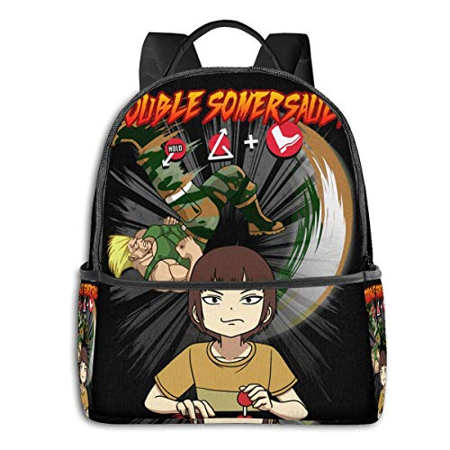 IUBBKI Schwarzer Seitenrucksack Lässige Tagesrucksäcke Anime & Double Somersault Classic Student School Bag School Cycling Leisure Travel Camping Outdoor Backpack