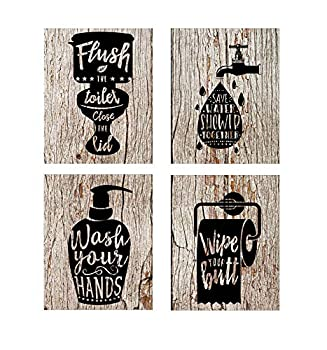 guibaoguo Nostalgia Funny Bathroom Signs  Set of 4 Unframed - 8 x 10 Inches  Bathroom Typography Wall Decor Prints,Vintage Planks Unframed Great Gift for Bathroom Decoration