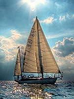 1000個の木製大人のパズル、減圧レジャーと環境保護のパズル、最高のホリデーギフト-海に出航(50x75cm)