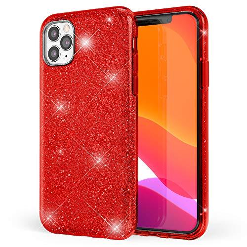 NALIA Custodia Glitterata compatibile con iPhone 11 Pro Max, Brilliantini Copertura Sottile Silicone Glitter Cover Protettiva Bling Case, Diamante Bumper Telefono Cellulare, Colore:Rosso