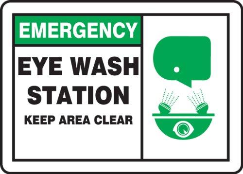 "Accuform Plastic Safety Sign,""Emergency Eye WASH Station Keep Area Clear"", 7"" x 10"", MFSD928VP"