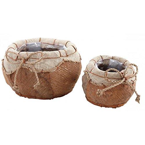 AubryGaspard Cache-Pots Rond en Coco et Corde