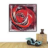 PLjVU Pintura de decoración de Arte de Rosa roja, póster de Estilo Americano, Pintura de Pared, Sala de Estar, decoración de Estudio, Pintura-Sin marco40x40