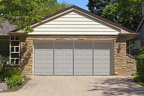 Liveinu Upgraded Magnetic Garage Door Screen 2 Car Screen Door for Single or Double Garage with Hook & Loop Install Magnetic Closure 16 Ft x 8 Ft (W x H) Grey